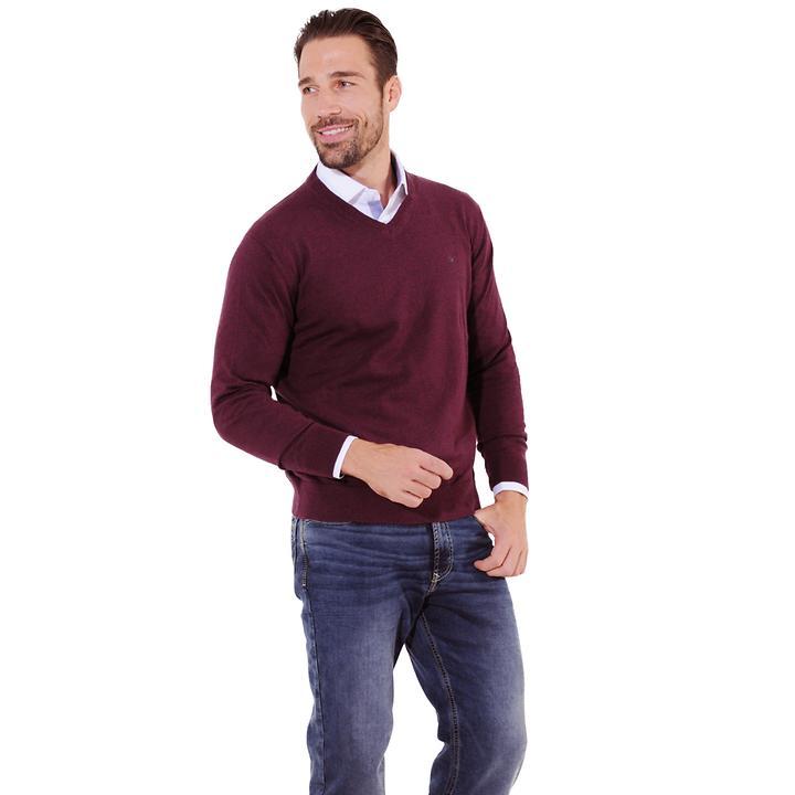 V-Pullover Tim bordeaux