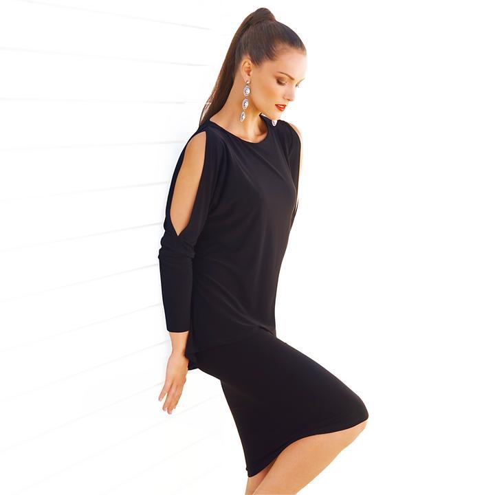 Designer-Kleid im Lagenlook mit geschlitzten Ärmeln