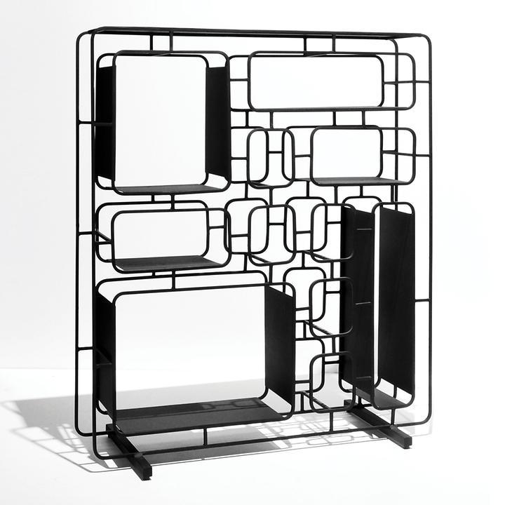 Design-Regal Project Q, aus Metall, schwarz