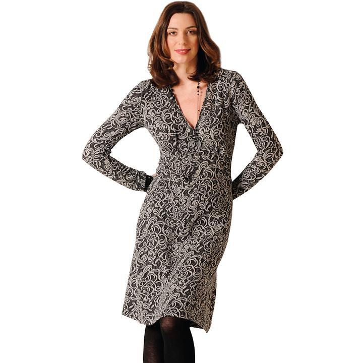 V-Ausschnitt-Kleid aus feiner Merinowolle