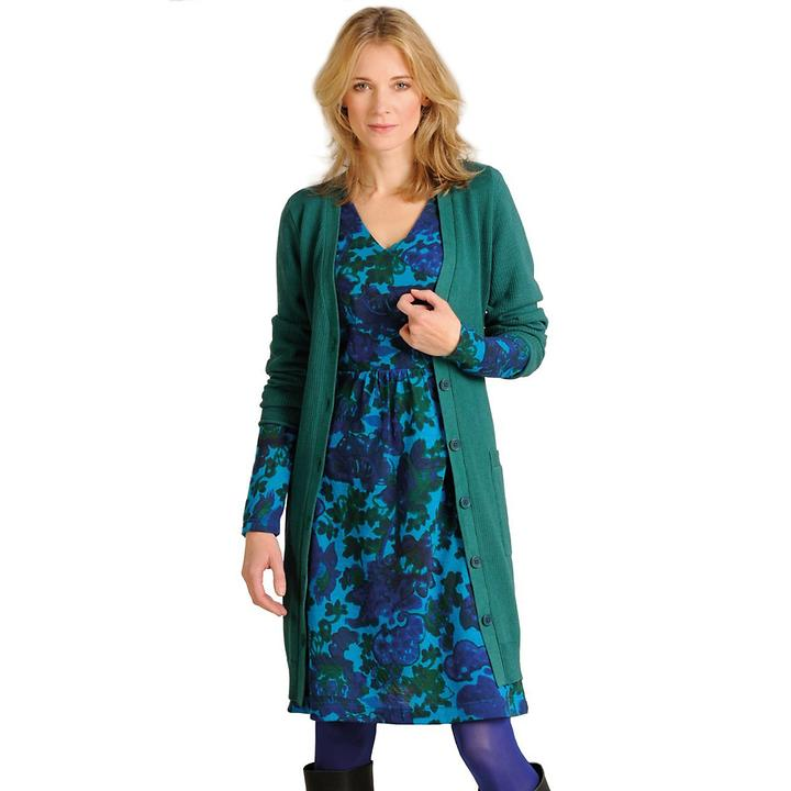 Kleid aus feiner Merino-Wolle mit Strick-Mantel