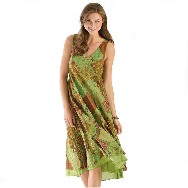 Schwingendes Kleid mit doppellagigen Saumabschluss