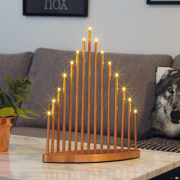 Design-LED-Leuchter Pyramid kupferfarben lackiert