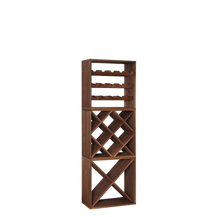 3er-Set Weinregal 50 cm, Module STANDARD, RAUTE + X | Küche und Esszimmer > Küchenregale > Weinregale | Dunkelbraun | VINCASA