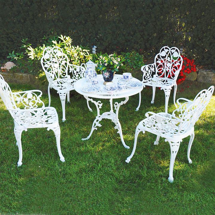 Set: 4 Sessel mit rundem Tisch 5-teilig