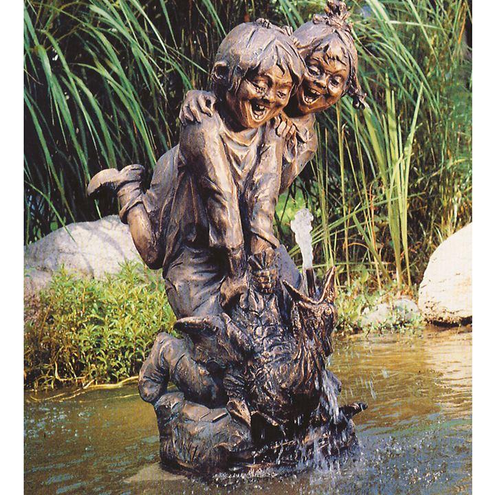 Skulpturen Zwei Kinder auf Gans & Junge mit Hund & Lampe