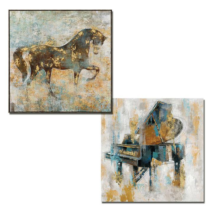 Acryl-Kunstwerke Pferd und Konzertflügel
