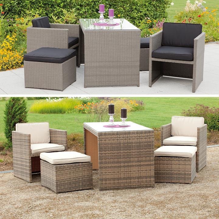 Geflecht-Dining-Lounge Sets in 2 Farben, platzsparend