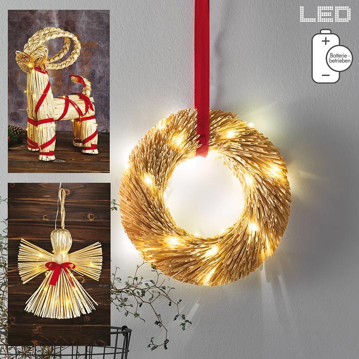 LED-Strohfiguren Rentier, Engel & Kranz