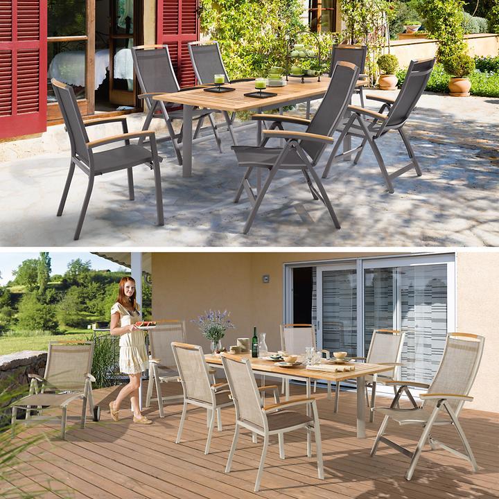 Aluminium-Gartenmöbel mit Teakholz und Textilengewebe