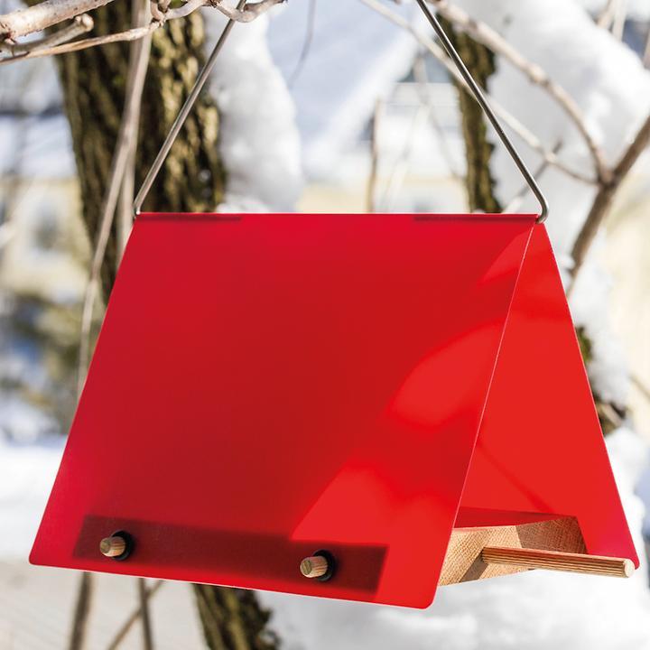 """Vogelfutterstelle """"Red"""" aus Acryl und Holz, rot/braun"""