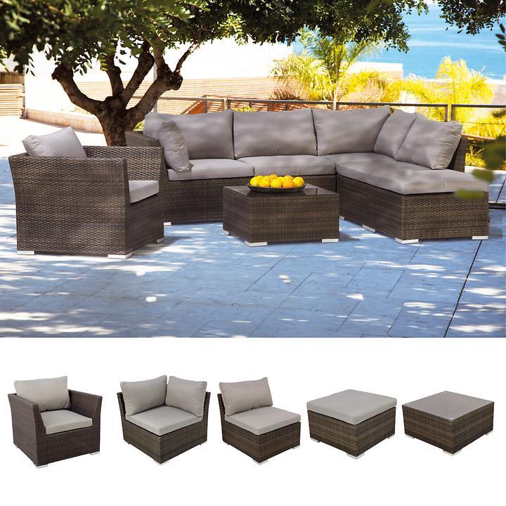 Geflecht-Loungegartenmöbel, beliebig erweiterbar