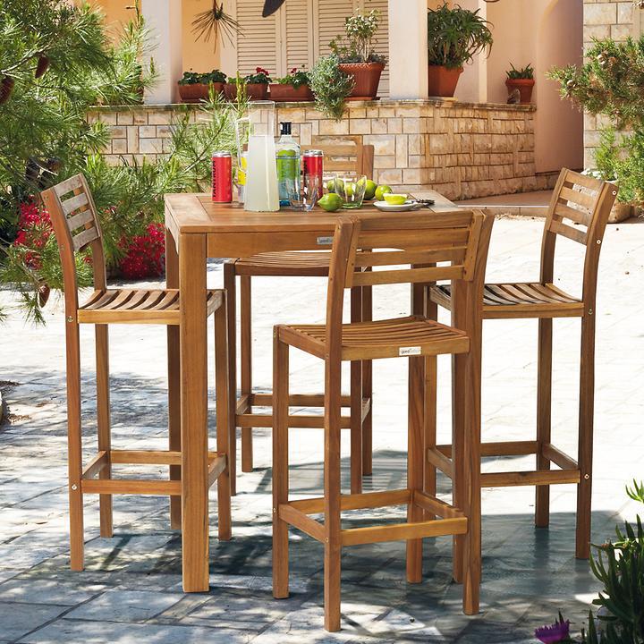 Bar-Möbel aus Robinienholz, 4 Stühle & 1 Tisch