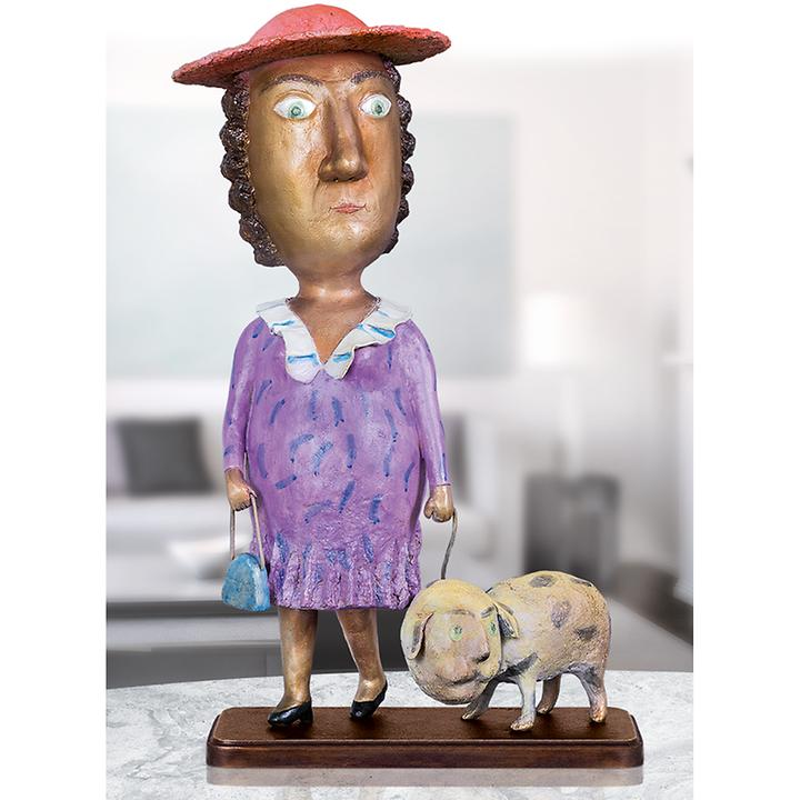 Skulptur Lady with a dog
