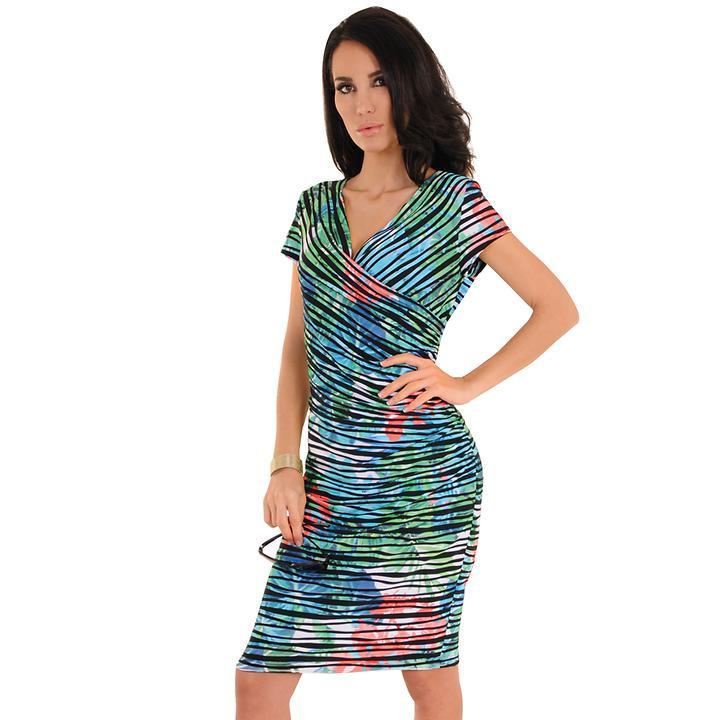 Knielanges Kleid in Wickel-Optik und Meeresfarben