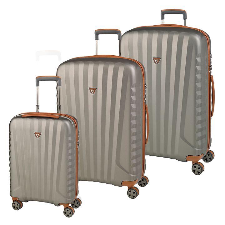 Roncato E-LITE & UNO DLX Trolleys, Cognac/Titanio, 4 Rollen
