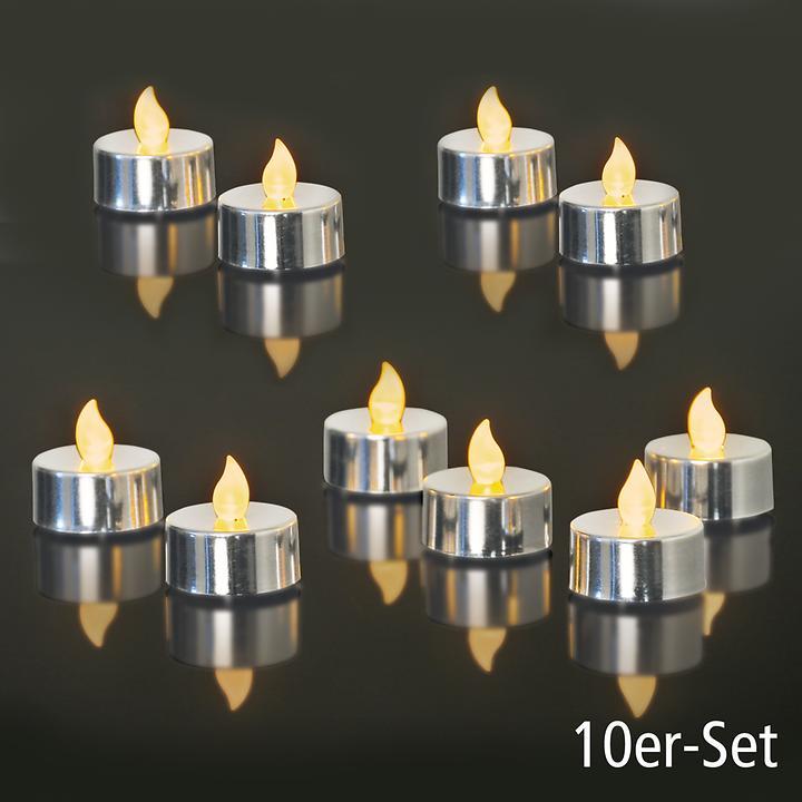 LED-Teelichter 10er-Set silber metallic | Dekoration > Kerzen und Kerzenständer > Teelichter | Silber