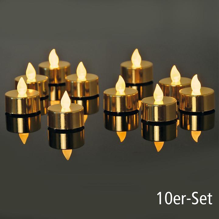 LED-Teelichter 10er-Set gold metallic