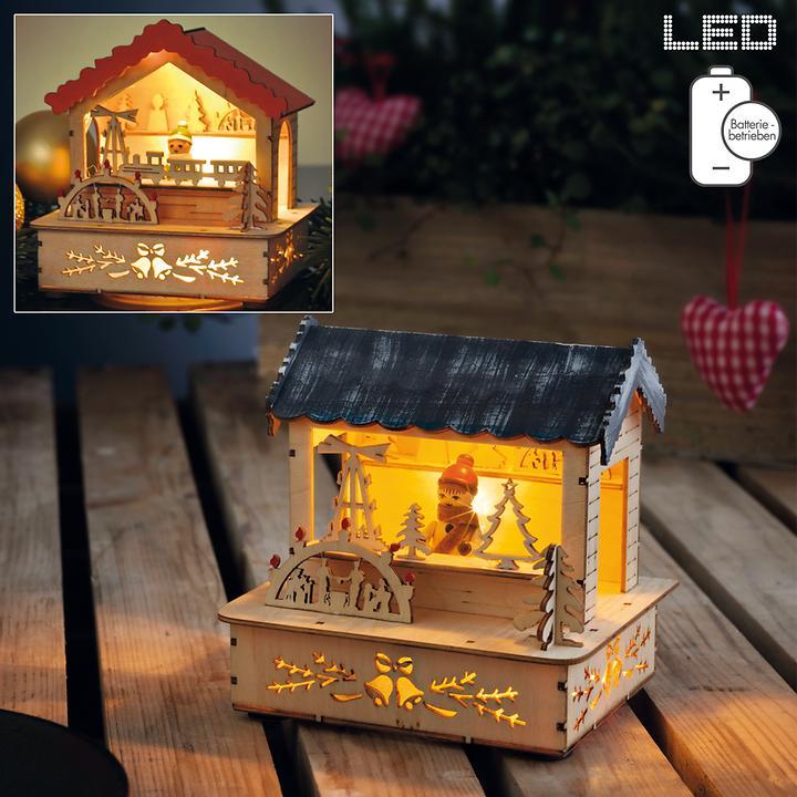 LED-Weihnachtsmarktstand 2er-Set batteriebetrieben