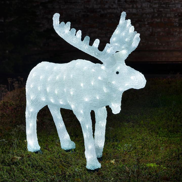 """*All for X-Mas*: LED-Figur """"Elch"""" aus Acryl, weiß"""