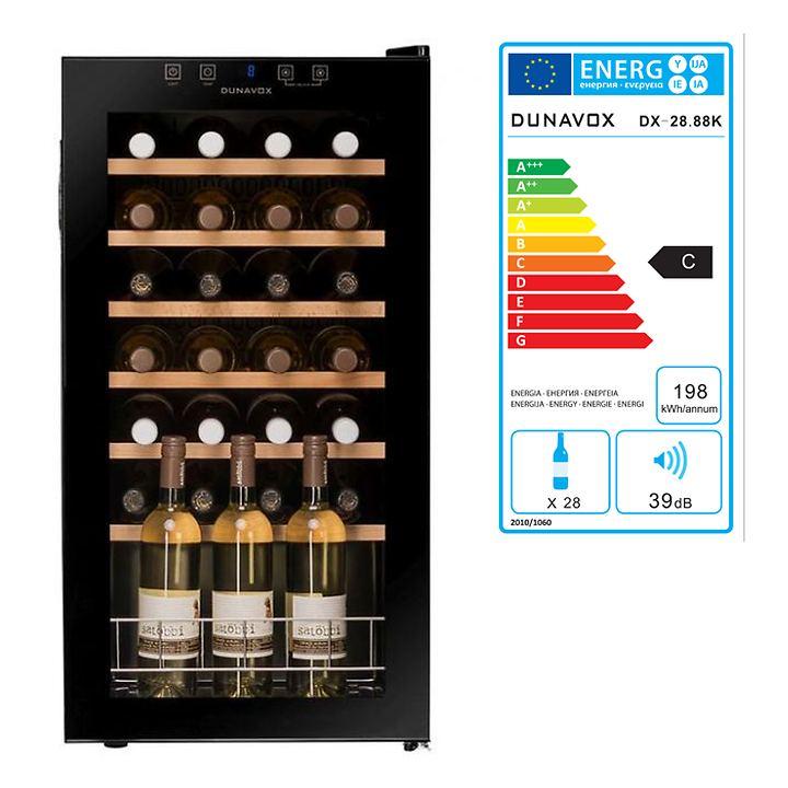 Einzonen-Weinkühlschrank f. 28 Fl.