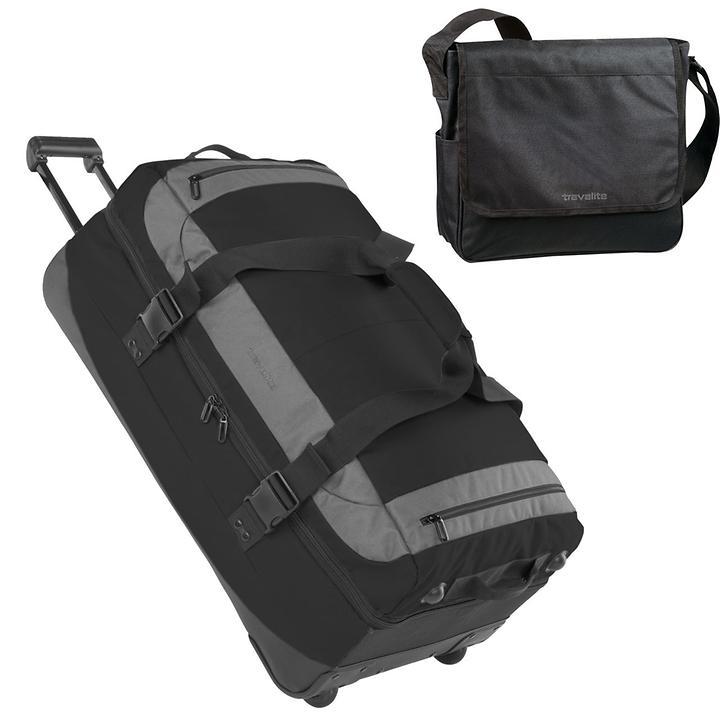 Travelite Basics Trolley-Reisetasche und Messenger schwarz