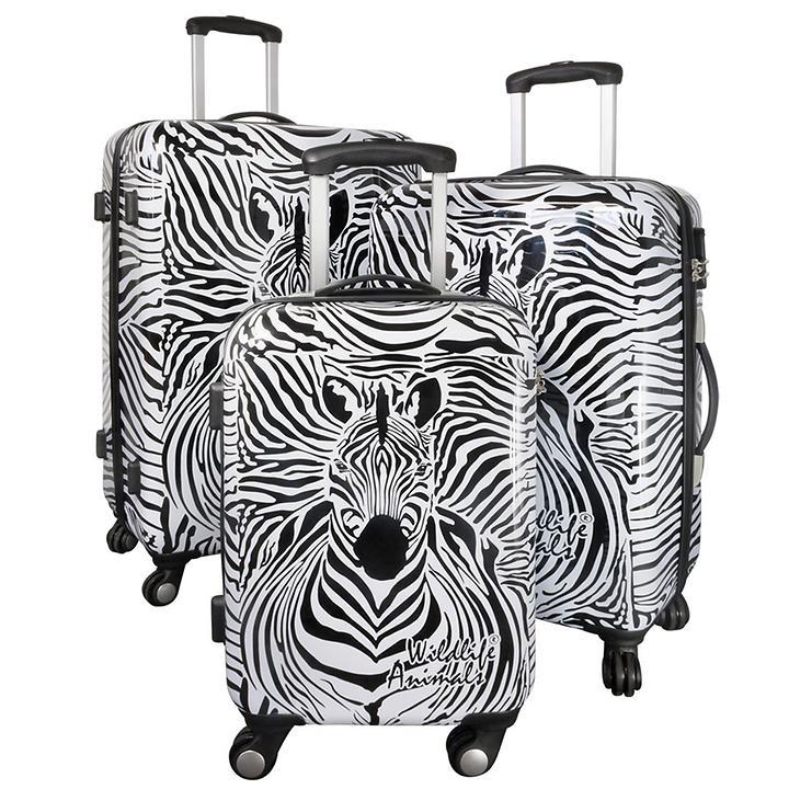 Trolley-Set Zebra, 3-tlg., schwarz-weiß, 4 Rollen