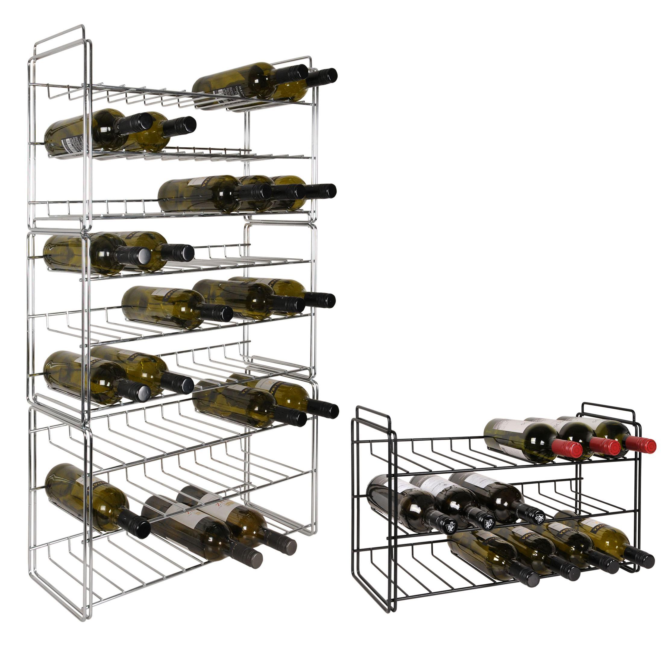 weinregal system sauvignon aus metall schwarz stapelbar erweiterbar ebay. Black Bedroom Furniture Sets. Home Design Ideas