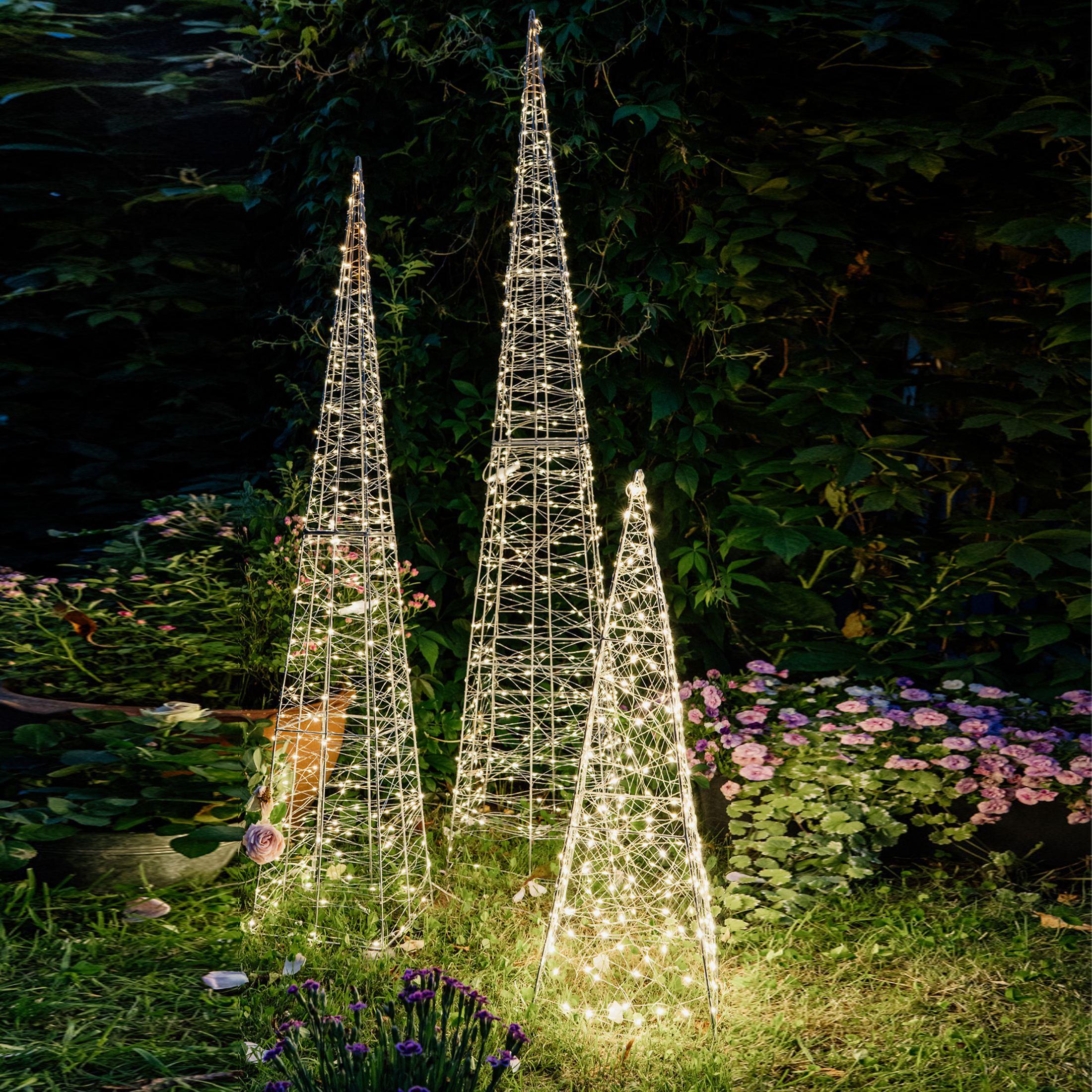 Kunstfaser Leucht Pyramiden mit LED Beleuchtung | Promondo