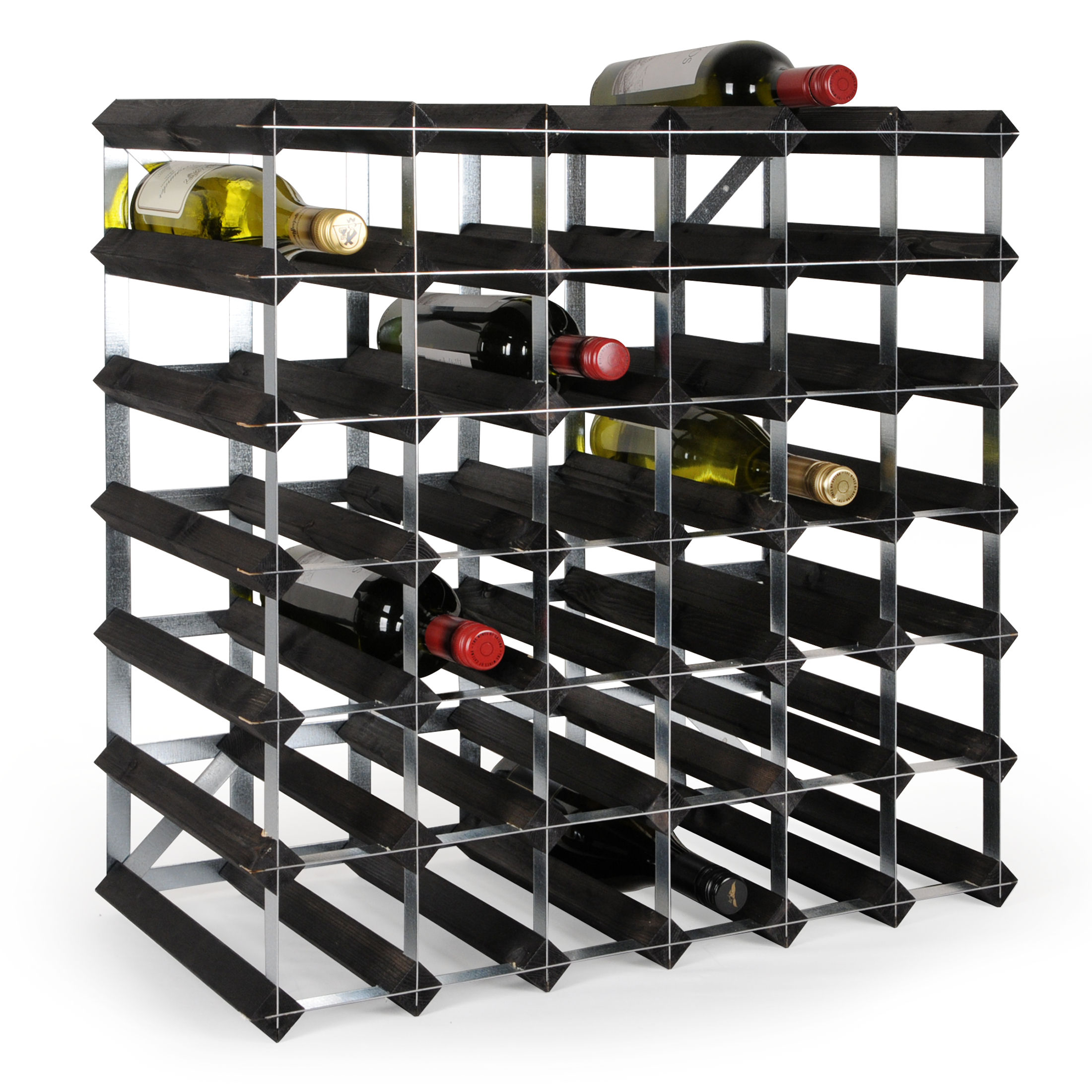 pin noir décapés empilable//Extensible Étagère à vin système trend