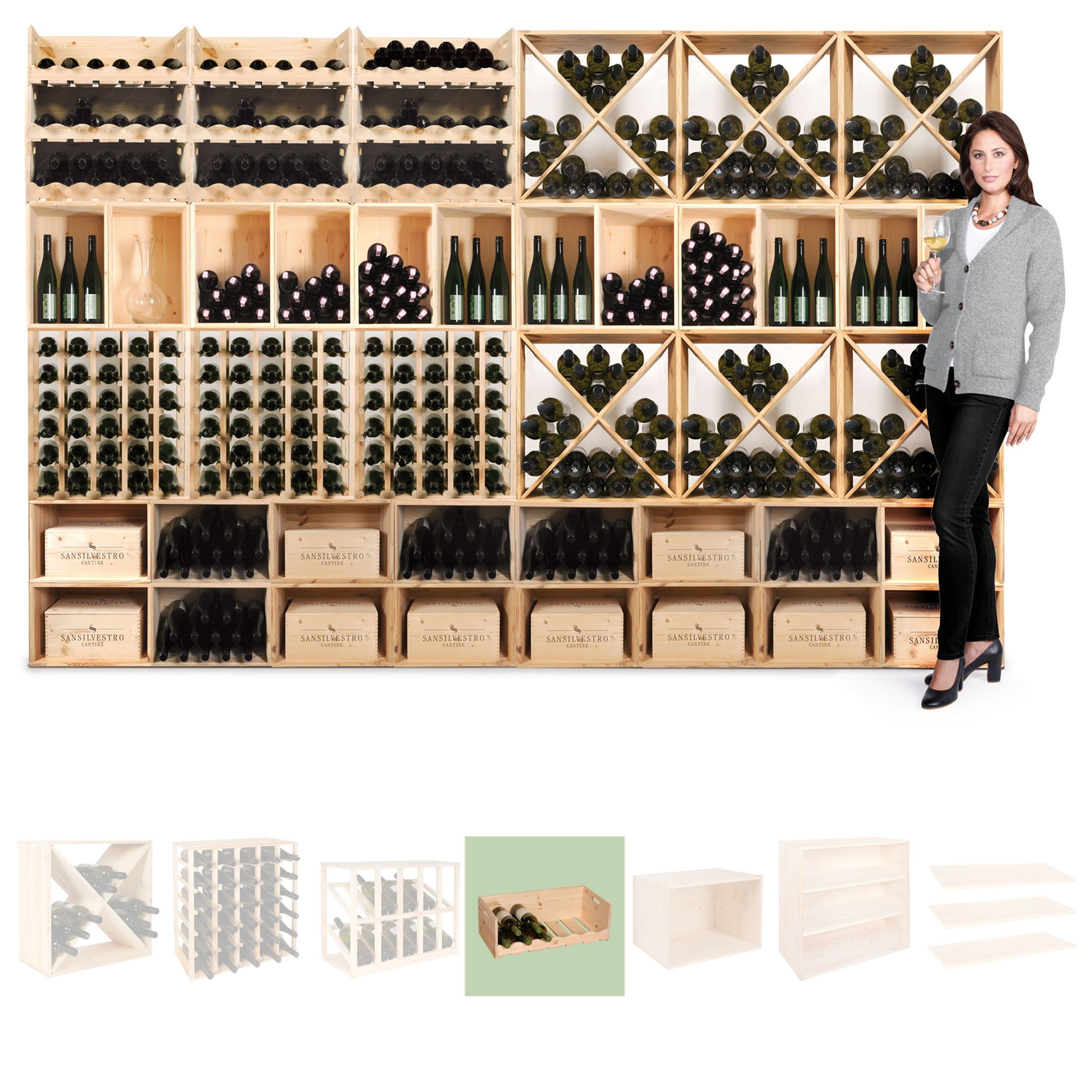 weinregal flaschenregal system vincasa holz kiefer natur stapelbar erweite ebay. Black Bedroom Furniture Sets. Home Design Ideas