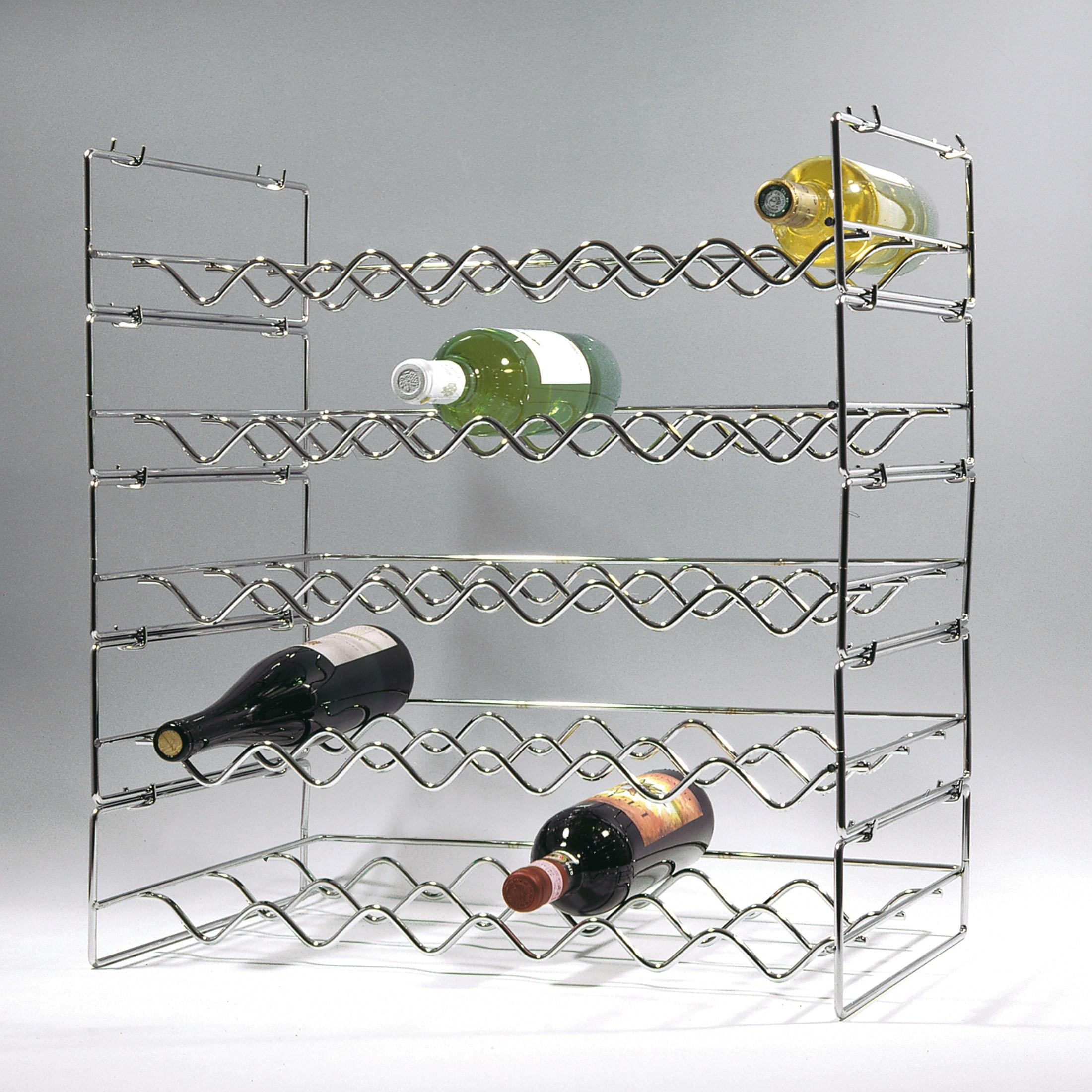 weinregal flaschenregal system loop metall stahl verchromt stapelbar erwei ebay. Black Bedroom Furniture Sets. Home Design Ideas